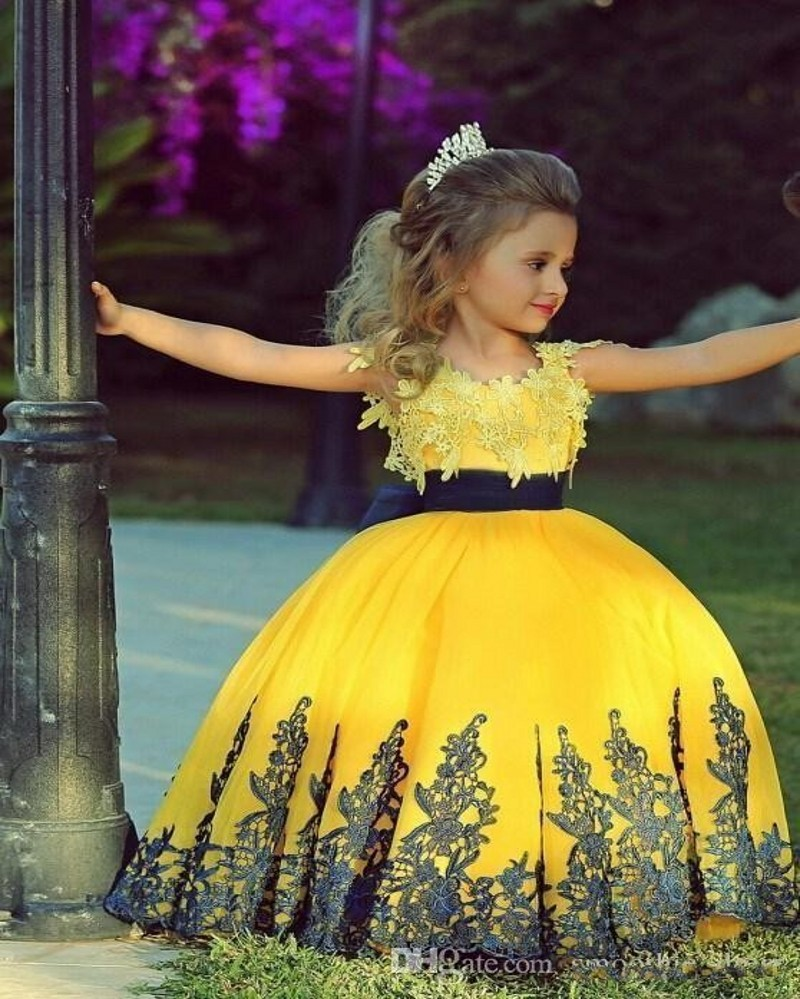 Yellow and Black Lace Flower Girl Dresses Princess Girl Party Tutu Dress Embroidery Floral Teenager Girl Ball Gown Girl Dresses artigli girl толстовка