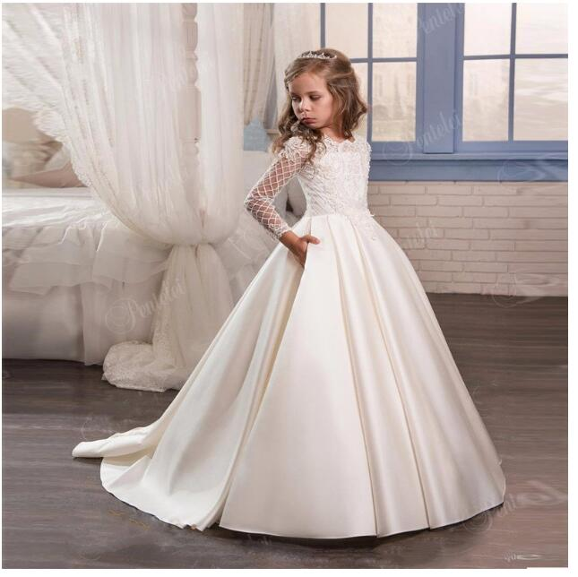 Girls Wedding Formal Dresses 2018 New Long Sleeve Lace Tailing Prom Ball Gown Flowers Girls Princess Dress Kids Long Party Dress long criss cross open back formal party dress