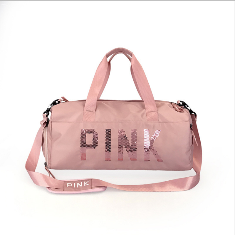 The latest design sequins PINK letter fitness bag dry and wet separation sports bag shoulder Messenger bag couple handbag travel(China)