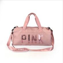 db9ccf282d Le dernier design paillettes rose lettre fitness sac sec et humide  séparation sac de sport épaule Messenger sac couple sac à mai.