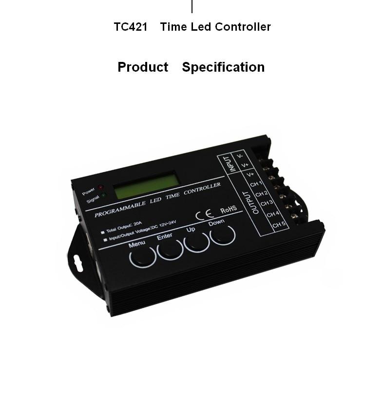 Led TC421 DC12V/24 V Temps Gradateur RGB Contrôleur led WIFI contrôleur de temps 5 canal Sortie Totale FreeShipping TC421 Temps programab