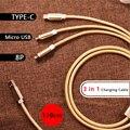 3 em 1 trançado nylon proteção tpye-c/micro usb/cabo de carregamento de iluminação para iphone 6 6 s para samsung android tpye carga c cabo