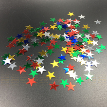 500pcs/lot 10mm/6mm Silver stars sequins Stardust Metallic Multicolor Confetti Happy New Year table decoration scatters