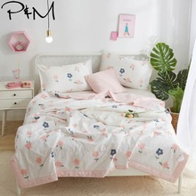 2019 Simple Pink Flowers White Quilt Cotton air-condition Quilted Thin Comforter Summer Throws Blanket Twin Full Queen Size