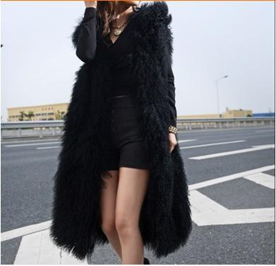 Outwear Plus Fourrure X Hiver V699 Mongolie Gilet La Rue Taille Sans Manteau Noir 2019 Femmes Manches Fausse long Moutons En dFOqnd1