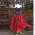 Vintage Retro Style Red Black Tutu Skirt Elastic Waistline A Line Tee Length Midi Skirt Personalized Puffy Skirts Women