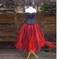 Vintage Retro Style Red Black Tutu Skirt Elastic Waistline A Line Tee Length Midi Skirt Personalized Puffy Skirts Women