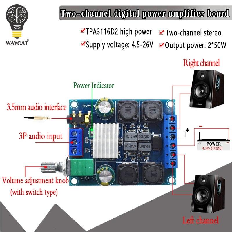 TPA3116 D2 50W X 2 High Power Digital Audio Music Amplifier Board Stereo Amplifier Speaker Amplifiers Board