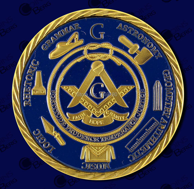 US $191 25 15% OFF|100pcs/lot Base Metal With Gold Plated Blue Color  Masonic Freemason Coin For Belief,DHL Free shipping-in Non-currency Coins  from