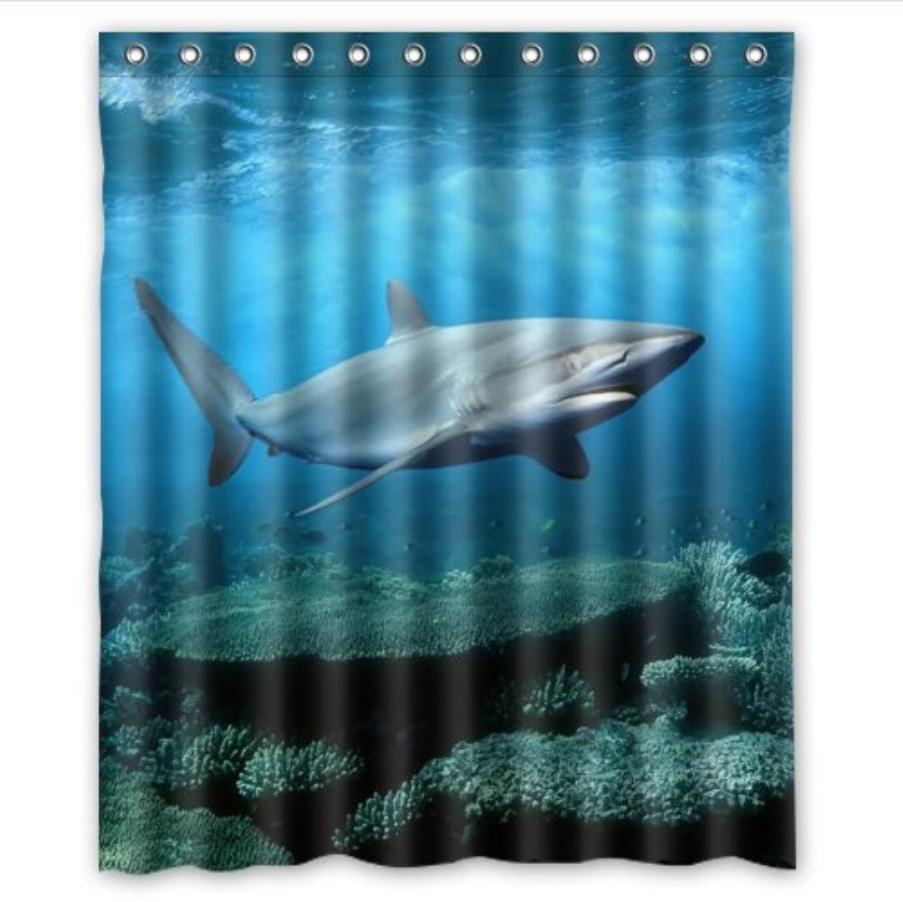 Cool Great White Shark Custom Shower Curtain Pattern Shower Curtain Waterproof Fabric Shower Curtain For Bathroom 66*72inch