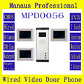 "Multi-storey Three button Video Door Phone & Three Wired Color 7"" TFT LCD Display Video Door Phone Doorbell Intercom System D56a"