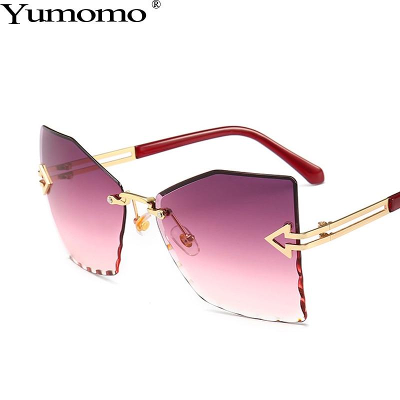 Polygonal Frameless Sunglasses Women Fashion Sexy Retro Trimming Oversized Frame Blue Purple UV400 Oculus Feminino Eyeglasses in Women 39 s Sunglasses from Apparel Accessories