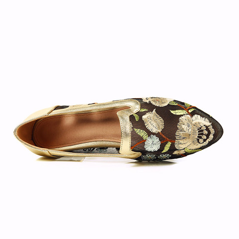 Phoentin shose women embroider flower low square heels with crystal lace mesh gold shoes 2019 comfortable ladies footwear FT423 Karachi