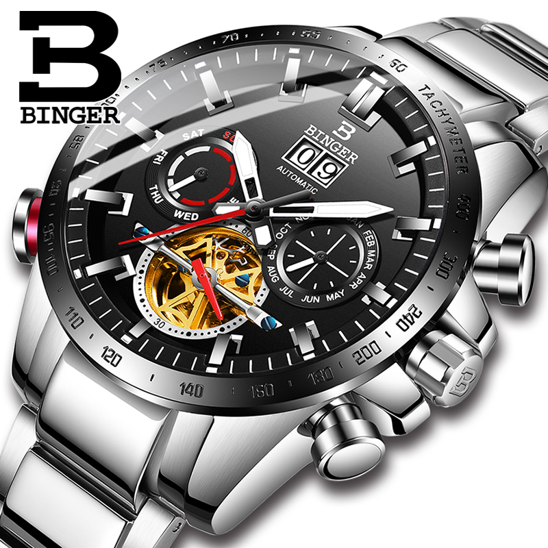 BINGER Mens Watches Top Brand Luxury Automatic Mechanical  Watch Men Stainless Steel Military Tourbillon Relogio Masculino 2019BINGER Mens Watches Top Brand Luxury Automatic Mechanical  Watch Men Stainless Steel Military Tourbillon Relogio Masculino 2019