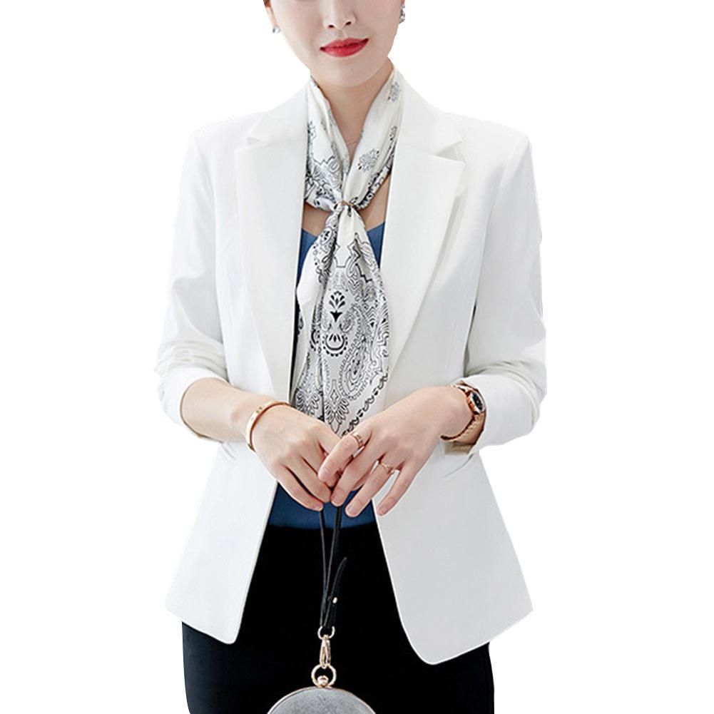 MISSKY 2019 Women Blazer Long Sleeve Solid One Button Coat Slim Office Lady Jacket Female Tops Suit Blazer Femme Jackets