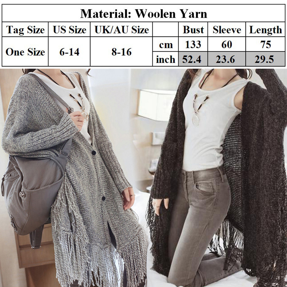 7ad19f5740 Winter Baggy Sweater Boho Women Batwing Sleeve Fringe Tassel Chunky  Knitting Sweater Cape Oversized Cardigan Poncho Duster Coat-in Cardigans  from Women s ...