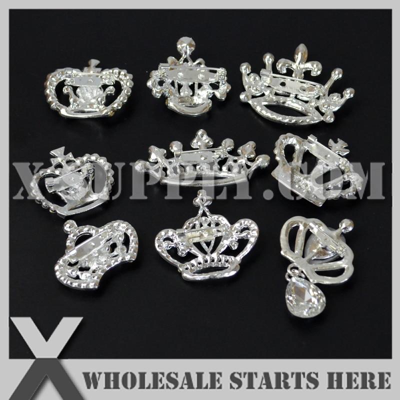 (20 ədəd / çox) Gümüş Crown Metal Rhinestone bəzək - İncəsənət, sənətkarlıq və tikiş - Fotoqrafiya 3