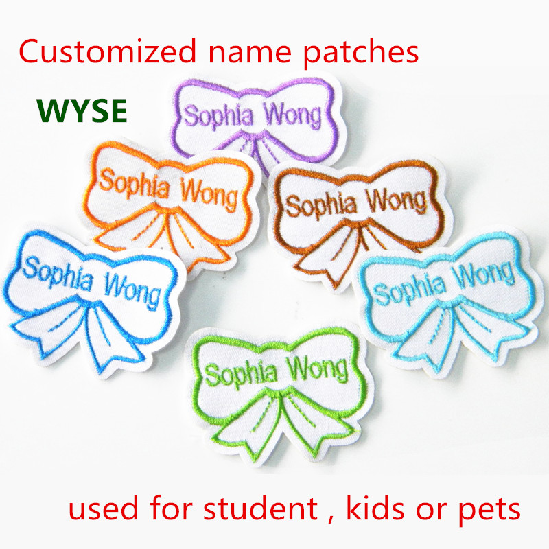 16 pc/lot Custom patch embroidered name Patch kids name tag personalized  name and number embroidery patches customized name tag