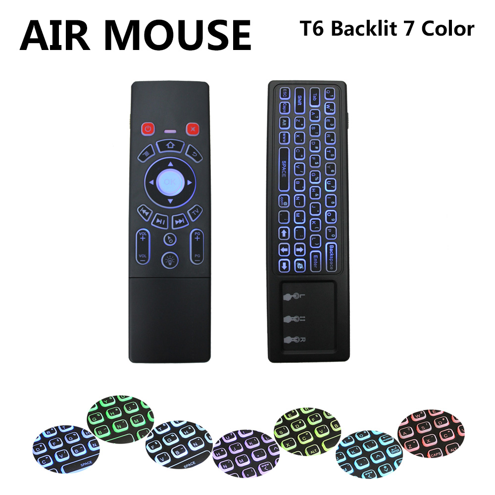 T6 Colorful Backlight Mini Keyboard 2.4GHz Wireless Gyro 6-Axis Inertia Sensors IR Learning Remote Fly Air Mouse ...