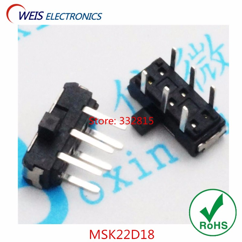 200PCS MSK22D18 MSK-22D18 DIP 6PIN 2P2T toggle switch side slide switches ROHS Free shipping D.