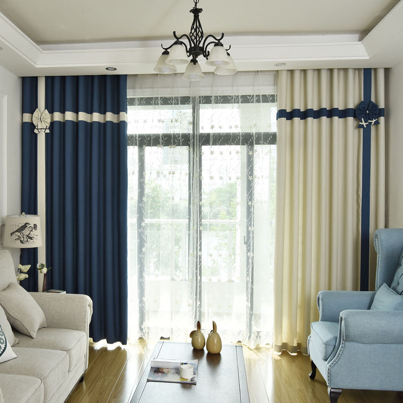 US $16.1 30% OFF|Curtains for Living Room Dining Modern Curtains for  Bedroom Blackout Scandinavian Mediterranean Splicing Princess Window  Tulle-in ...