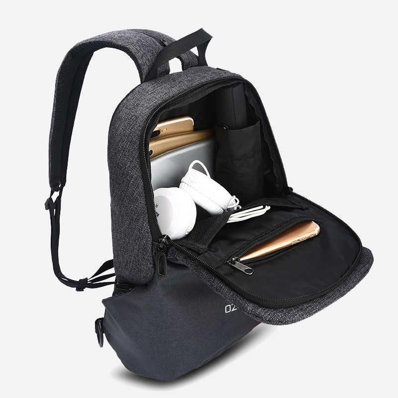 "OZUKO 9067 hombre bolso de hombro USB carga Sling Bolsa de mensajero pecho Pack Fit 9,7 ""iPad Crossbody bolsas para hombres corta de verano de viaje"