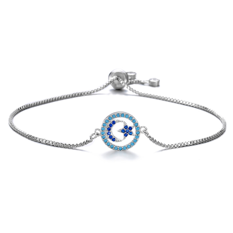 Classic Design Moon & Star Charm Bracelets For al-Islam Hot Sale Cubic Zirconia Pave Setting Religious Jewelry