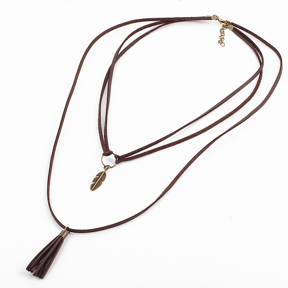 1Pc New Fashion PU Leather Tassel Multilayer Necklace Chorker Necklace For Women Girl Christmas Present