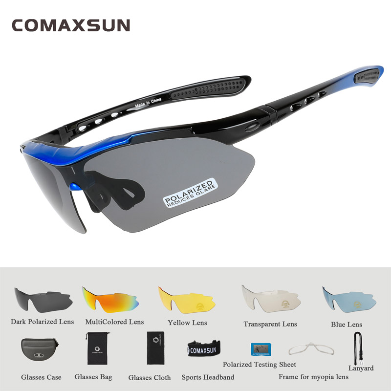COMAXSUN Professional Polarized Cycling Glasses Bike Goggles Outdoor Sports Bicycle Sunglasses UV 400 With 5 Lens TR90 2 Style 7