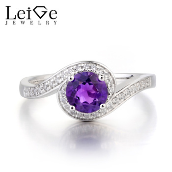 Leige Jewelry Wedding Ring Natural Amethyst Ring February Birthstone Round Cut Purple Gemstone 925 Sterling Silver Ring for Her