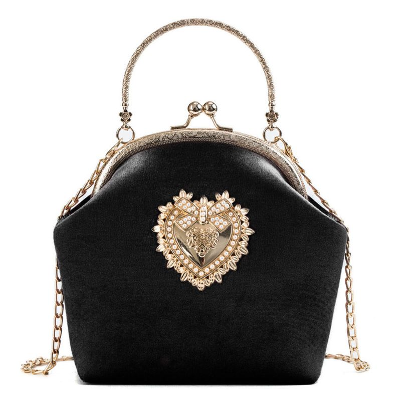 Women Velvet Handbag Vintage Heart Design Evening Bag Wedding Party Bride Clutch Shoulder Bags Purse