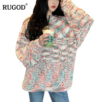 RUGOD 2019 Fashion Women Knitted Pullovers Rainbow Cotton Yarn O Neck Loose Slim Sueter Mujer Sweater Women Casual Tops Jump