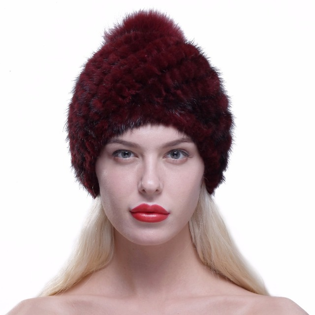 URSFUR Winter Warm Hat for Women Real Mink Fur Knitted Beanies Cap with Fox Fur Pom Poms 2017 Female Fashion Hats with Lining
