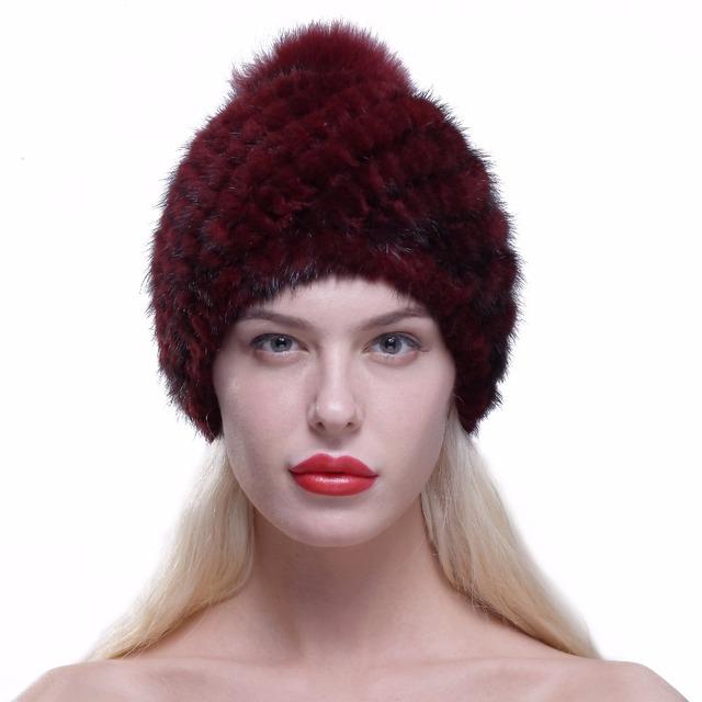 Ursfur chapéu do inverno quente para as mulheres fur real mink malha gorros Cap com Pele De Raposa Pom Poms 2017 Chapéus de Moda Feminina com forro