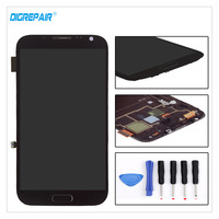 A Black 100 Tested For Samsung Galaxy Note 2 N7100 LCD Display Digitizer Touch Screen Assembly