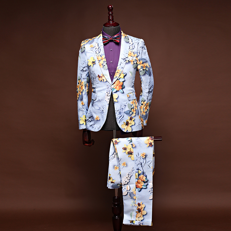2018 New Brand Floral Men Suits Blazers Slim Fit Small Size Jacquard Wedding Business Male Suit Tuxedos Prom Dress Jacket+Pants