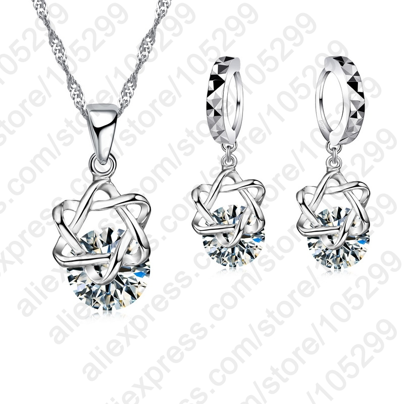Hot Sales Free shipping high quality round Exquisite Jewelry Sets CZ Zircon Necklace Earrings Gift For Women