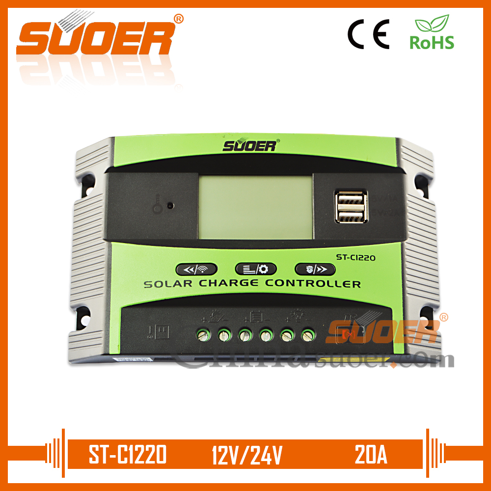 Suoer Double Usb Interfaces Solar Power System Home Pwm Mode 12v 24v 6a Small Charge Control Ce Controller 20a Charger St C1220 In Controllers From