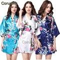 RB002 Satén Robes Kimono Albornoces del traje De Las Mujeres de dama de Honor de Novia de Seda Robes Camisón Mujeres Pijama Pijama Camisón Robe