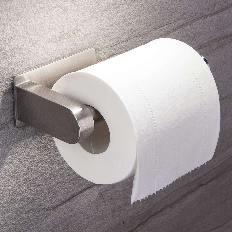 Self Adhesive Toilet Paper Holder Bathroom Toilet Paper Holder Stand No Drilling Stainless Steel Brushed in Paper Holders from Home Improvement