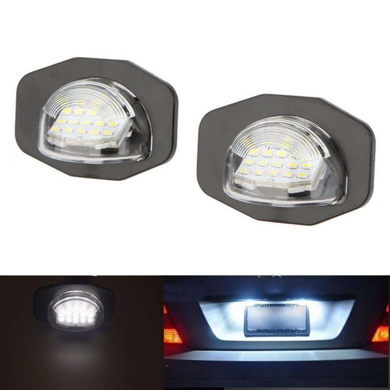2x Error Free 18 3528 SMD LED License Number Plate Lamp Car Light fit for Toyota Corolla Alphard Auris Wish Sienna Scion XB XD
