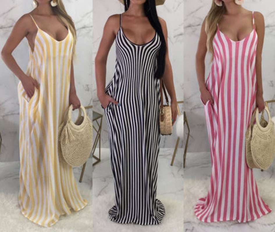 <font><b>Casual</b></font> <font><b>Striped</b></font> <font><b>Beach</b></font> <font><b>Dress</b></font> <font><b>Women</b></font> <font><b>Sexy</b></font> <font><b>Sleeveless</b></font> Spaghetti Strap A Line Summer Party <font><b>Dress</b></font> 2018 Sundress Vestidos image