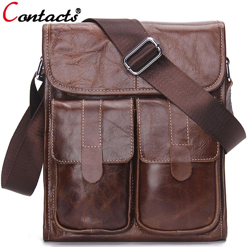 ФОТО CONTACT'S genuine leather men messenger bags large capacity briefcases shoulder crossbody bag famous brands business designer