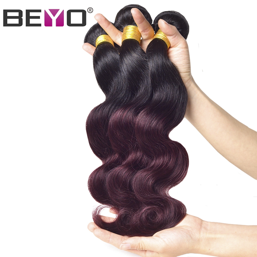 Beyo Brazilian Body Wave Ombre Human Hair Weave Bundles 1B Burgundy Ombre Hair Extension 1/3 PCS Non-Remy Hair Bundles 1b 99J ...