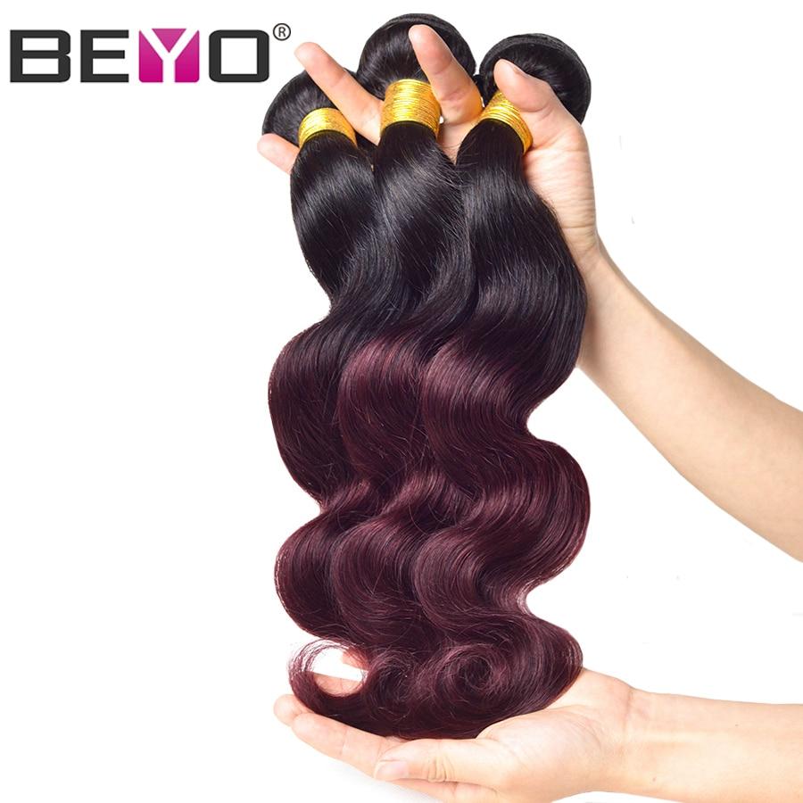 Beyo Ombre Brazilian Body Wave Hair Weave Bundles 1b Burgundy Two Tone Human Hair Extensions 1