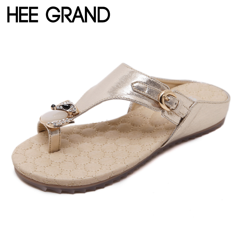 HEE GRAND Crystal Flip Flops 2018 Women Shoes Summer Bling Platform Flats Beach Shoes Woman Casual Style Lady's Slides XWM253 hee grand summer gladiator sandals 2017 new platform flip flops flowers flats casual slip on shoes flat woman size 35 41 xwz3651
