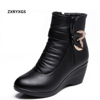 ZXRYXGS brand shoes Rhinestones bow winter snow boots shoes woman high heels 2018 Anti skid genuine leather boots women boots