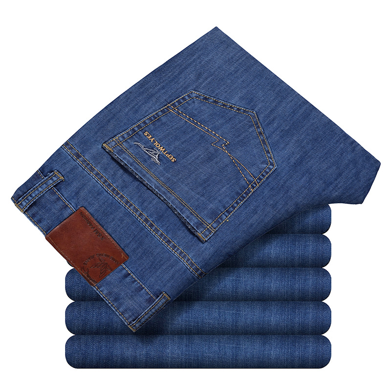 Cheap Mens Jeans Aliexpress Summer Loose Men's Business Jeans Stretch Work Dress Jeans Pepe Pants For Men Father Day