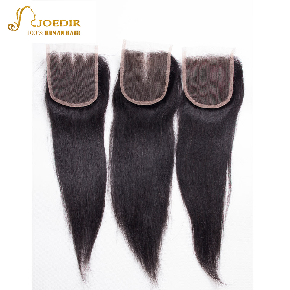 Joedir Peruvian 3 Pieces Straight Human Hair Bundles With Closures 4 PCS A Pack For Salon Sale and Beauty Supply Store Customers