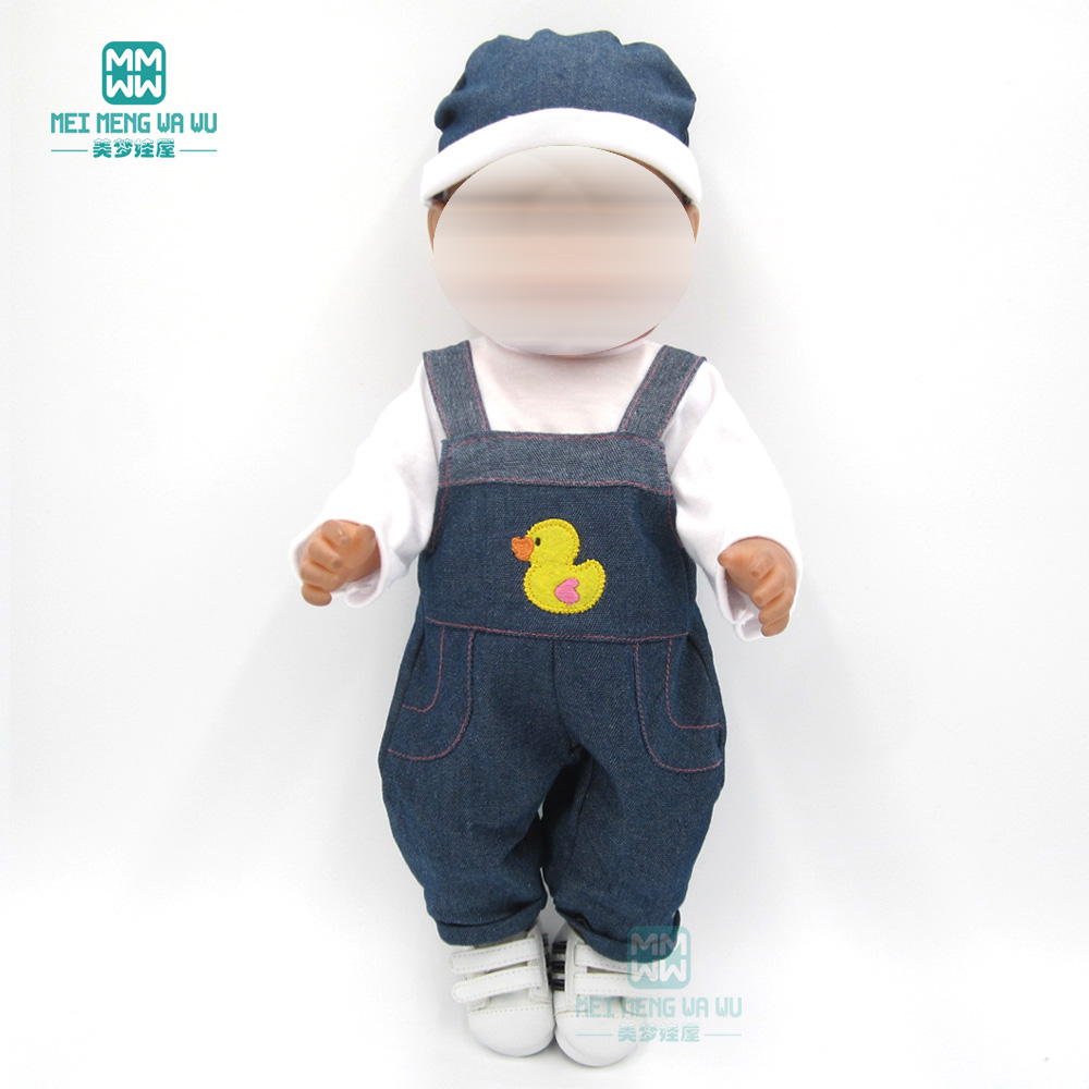 Clothes For Doll Fits 43cm Toy New Born Doll Accessories Baby White T-shirt + Denim Pants